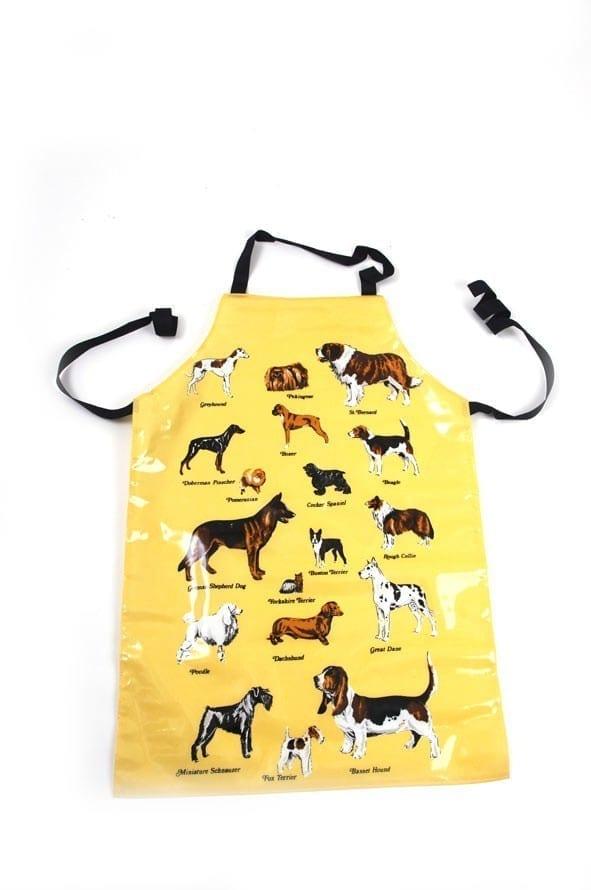 Schort kort geel met hondenmotief