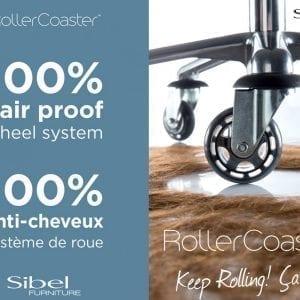 Tabouret Rollercoaster ronde zit 32cm. oranje wieltjes
